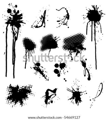Set Of Grunge Splashes - stock vector