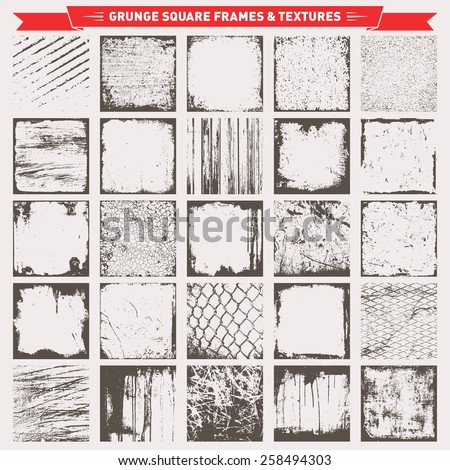 Set Of Grunge Square Frames Borders Textures Backgrounds Vector - stock vector