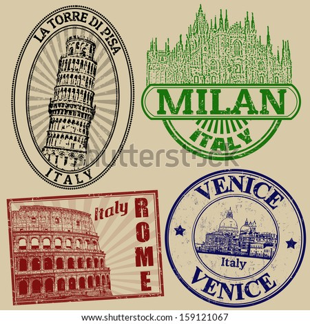 Set of grunge stamps with famous italian cities on retro background, vector illustration - stock vector