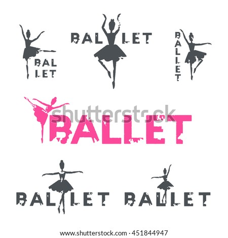 Set of grunge style ballet logotypes. Women ballerinas in tutu dress logo isolated. Elegance dance postures illustration on white background. Dancer and text silhouette. - stock vector