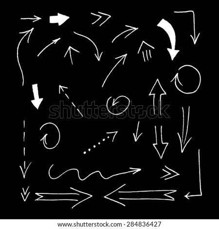 Set of grunge vector hand drawn arrows. Vector hand drawn arrows set. - stock vector
