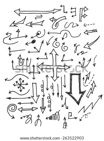 Set of grunge vector hand drawn arrows. Vector illustration for your design. Color can be changed by one click - stock vector