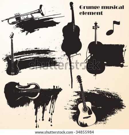set of grunge vector - music - stock vector