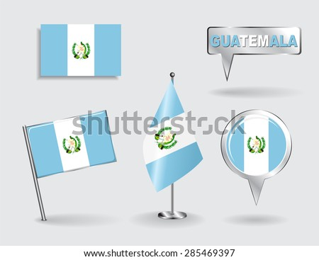 Set of Guatemalan pin, icon and map pointer flags. Vector illustration. - stock vector