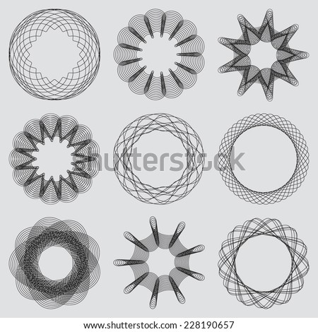Set of guilloche frames. Spirographic pattern for watermarks and borders for design certificates, vouchers, banknotes cards and invitations. Vector illustration - stock vector
