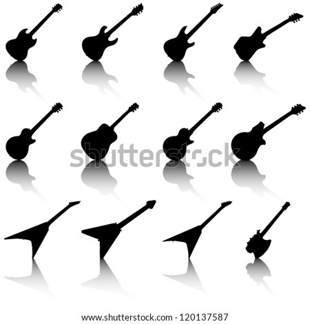 Set of guitar silhouette - stock vector