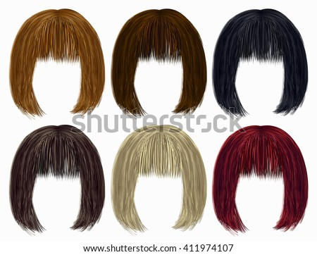 set of   hairs  different colors .fringe - stock vector