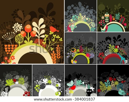 Set of half round banner for your messages. Decorative vector illustration. - stock vector