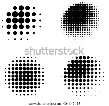 Set of halftone abstract shaded three dimensional spheres isolated on white background - stock vector