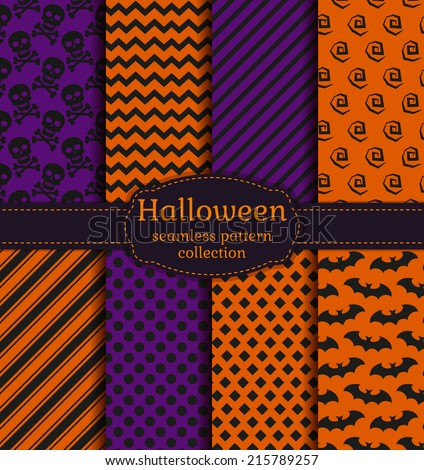 Set of halloween backgrounds. Collection of seamless patterns in the traditional holiday colors. Vector illustration. - stock vector