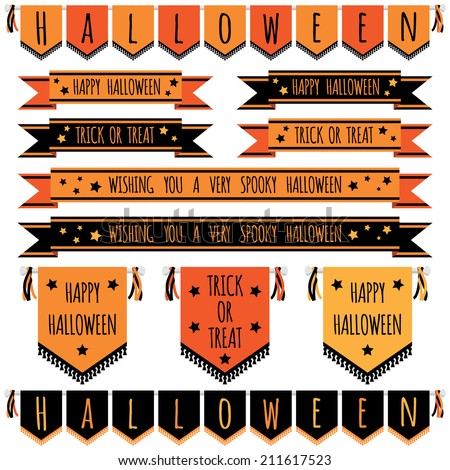 set of halloween banners, ribbons and pennants, isolated on white - stock vector