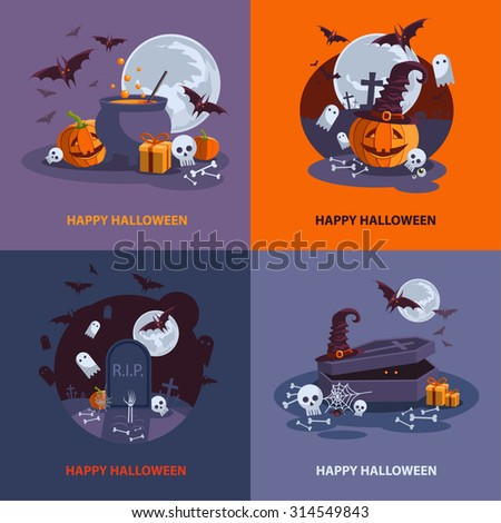 Set of Halloween cards. Vector Illustration. Halloween Night Party. EPS 10 - stock vector