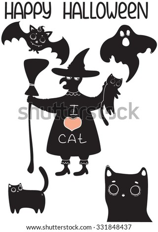 """Set of halloween characters. The bat, ghost, witch, and several cats. Witch dressed in a robe with the inscription """"I love cats"""". Also inscription """"Happy Halloween"""". Flat vector illustration. - stock vector"""