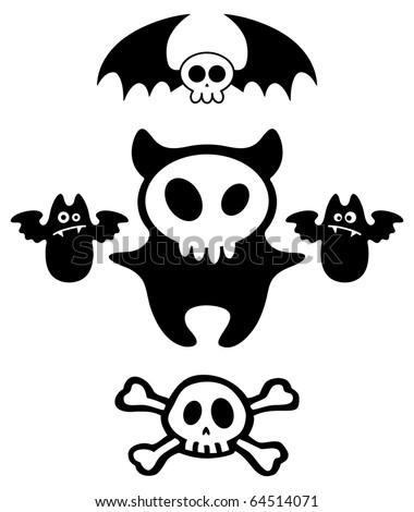 Set of Halloween dark cartoon skull characters. Vector illustration. - stock vector