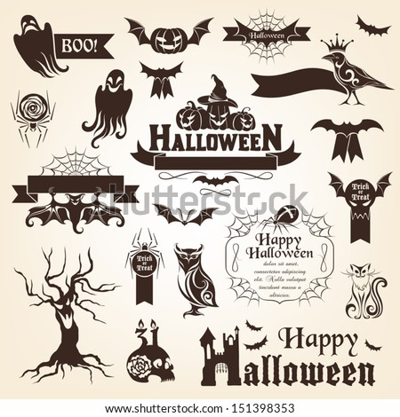 Set of halloween design elements. Monochrome version - stock vector
