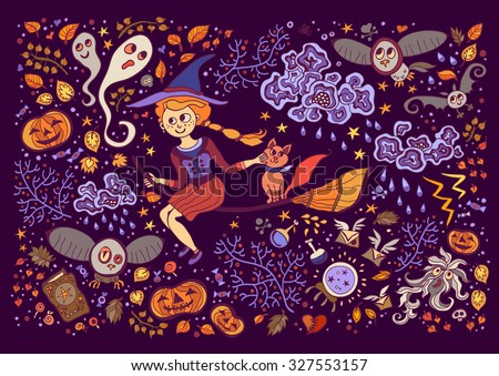 Set of Halloween  elements. Beautiful wallpaper with cartoon characters. Collection with witch, cat, broom, clouds, lightning, storm, ghost, pumpkin, owl, book, ball. - stock vector