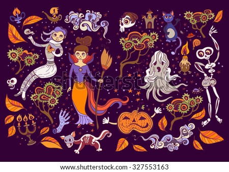Set of Halloween  elements. Beautiful wallpaper with cartoon characters. Collection with witch, cat, mummy, clouds, skeleton, storm, ghost, pumpkin, candle holders, - stock vector