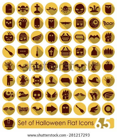 Set of halloween flat icons - stock vector