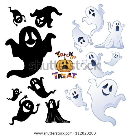 Set of Halloween Ghost, Halloween night, Ghost silhouette - stock vector