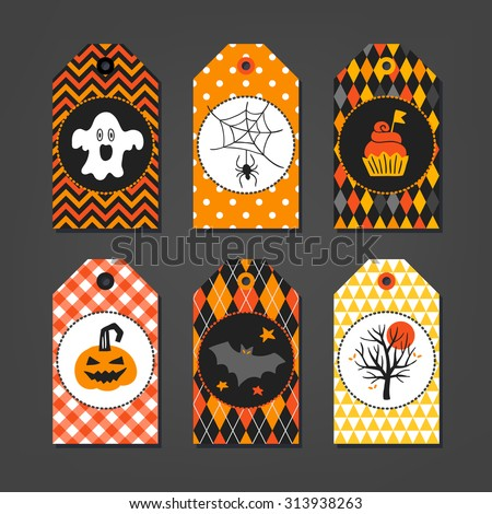 Set of Halloween Gift Tags with ghost, spider, cupcake, pumpkin, bat and autumn tree on geometric background. Chevron, Polka Dot, Harlequin, Gingham, Argyle and Triangles seamless patterns - stock vector