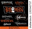 Set of 8 HALLOWEEN hand lettering pieces -- handmade calligraphy, vector (eps8) - stock vector