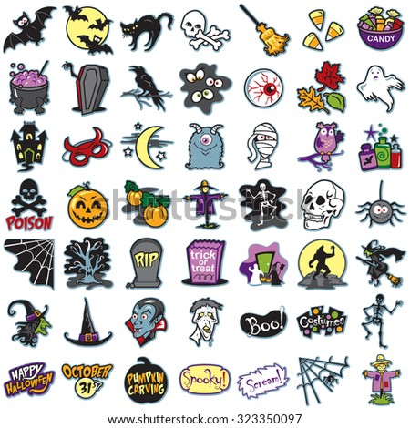 Set of halloween icons, illustrations - stock vector