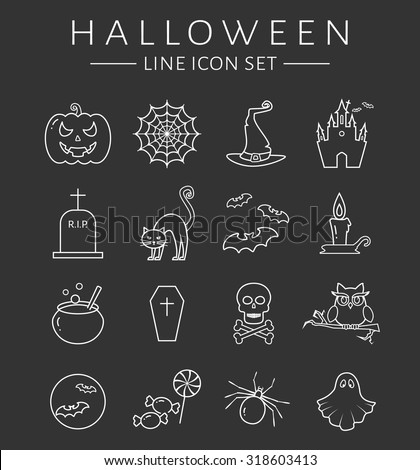 Set of halloween line icons. Collection of white outline symbols isolated on clear background. Vector illustration. - stock vector