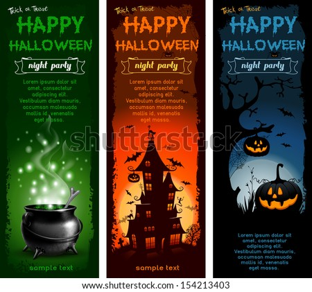 Set of Halloween night backgrounds with pumpkin, haunted house and magic cauldron - stock vector