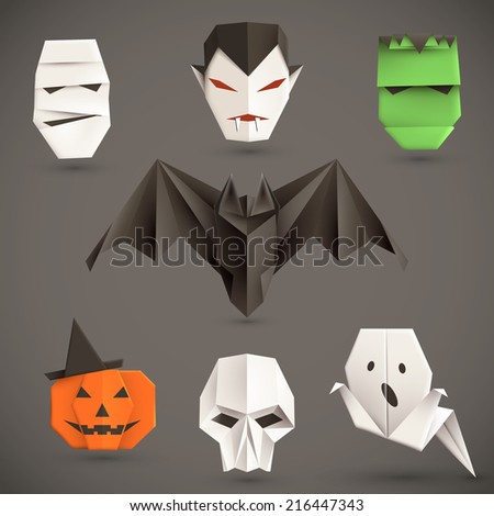 Set of halloween origami monsters. Vector illustration, eps10. - stock vector
