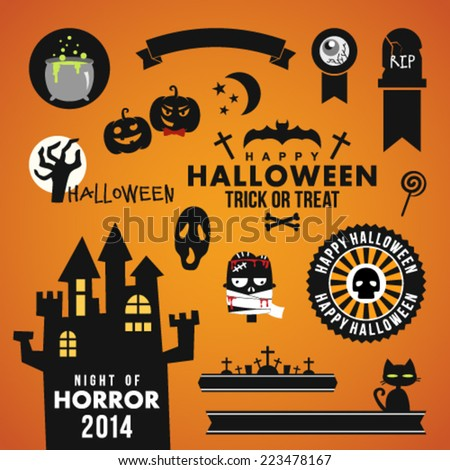 Set of halloween party decoration design elements. Vector illustration. - stock vector