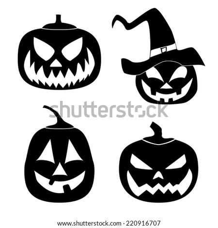 Set of Halloween pumpkin black siholuetts  for your design. - stock vector