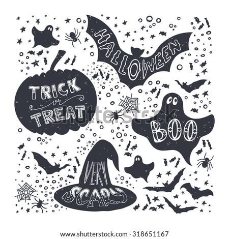 Set of Halloween pumpkin, witch hat, bat, ghost, sweets symbols. Hand drawn trick of treat, scary, boo, halloween lettering in vintage style. - stock vector