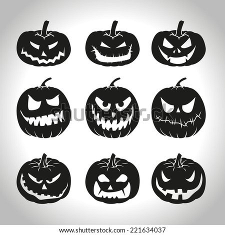 Set of Halloween pumpkins isolated on white - stock vector