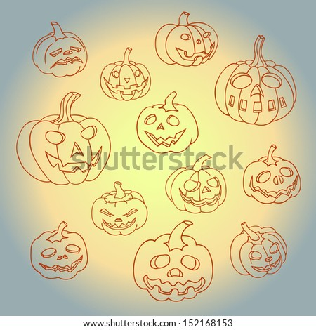 Set of halloween pumpkins. Jack o lantern collection. - stock vector