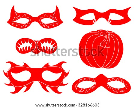 Set of Halloween red mask. Vector illustration. Isolated on white - stock vector
