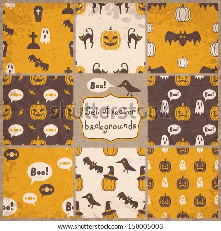 set of halloween seamless patterns, vector illustration, eps10 - stock vector