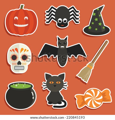 set of halloween stickers with pumpkin, spider, cauldron, cat, witches hat, skull, broomstick, black cat and candy - stock vector