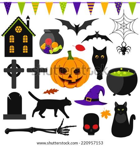 Set of Halloween symbols - stock vector