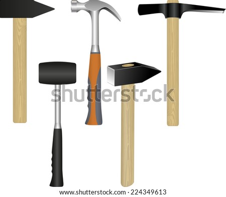 set of hammers - stock vector