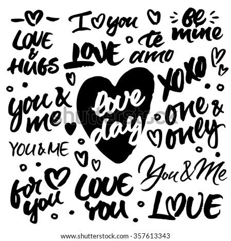 Set of hand brush ink lettering: Love & hugs, I love you, Be mine, Te amo, xoxo, Love day, You & me, One & only, For you. Modern brush calligraphy for wedding cards and Valentine's day greeting cards. - stock vector