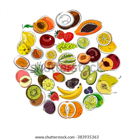 Set of hand draw fruits. Vector. - stock vector