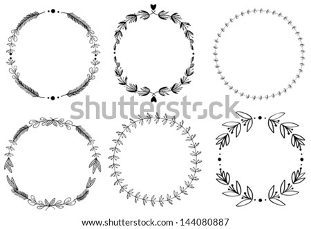 Set of 6 hand-draw vector victory laurel wreaths for stationary. Easy to change colors. - stock vector