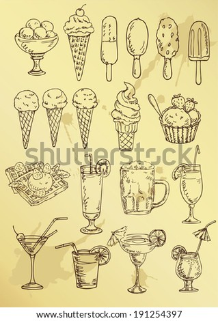 set of hand drawing alcohol coctail and ice cream - stock vector