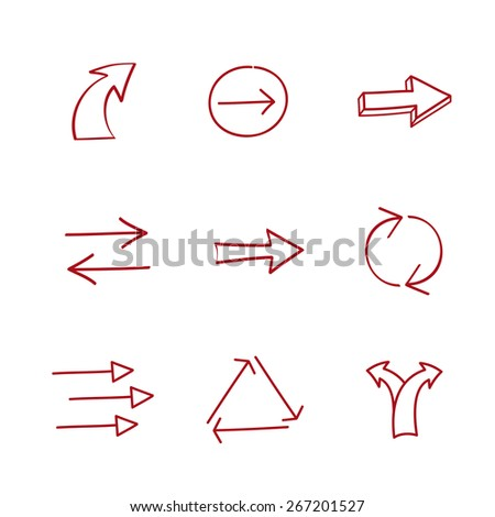 Set of hand-drawing arrows. Vector illustration. - stock vector