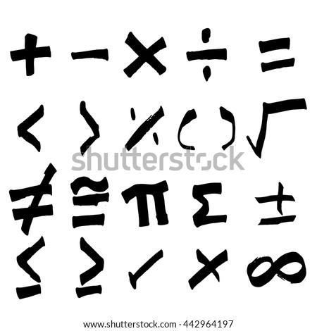 Set of hand drawing black math symbol (Vector) - stock vector