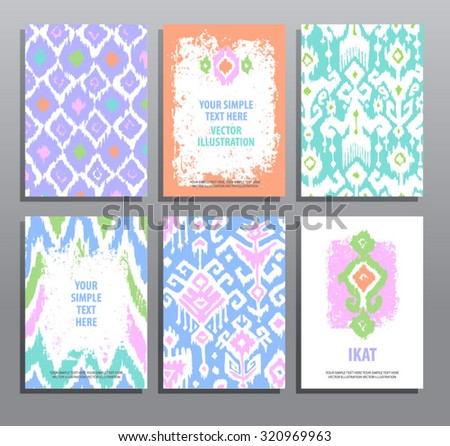 Set of hand drawing cards in ikat technique. Vector design templates collection. Vintage style. - stock vector
