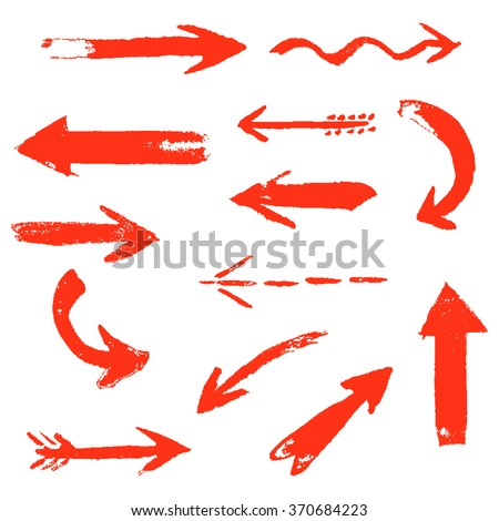 Set of hand drawing comic red arrows. Colorful hand painting design elements. Vector collection on transparent background. - stock vector