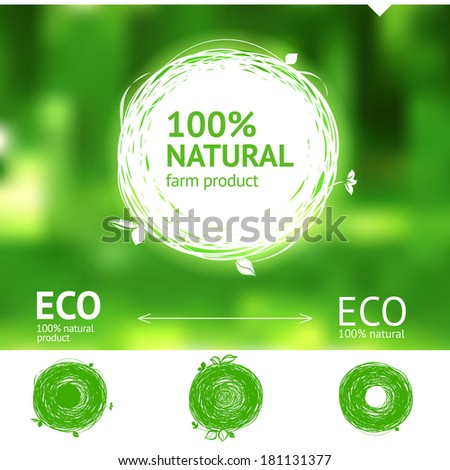 Set of hand drawing natural label for eco and farm products - stock vector