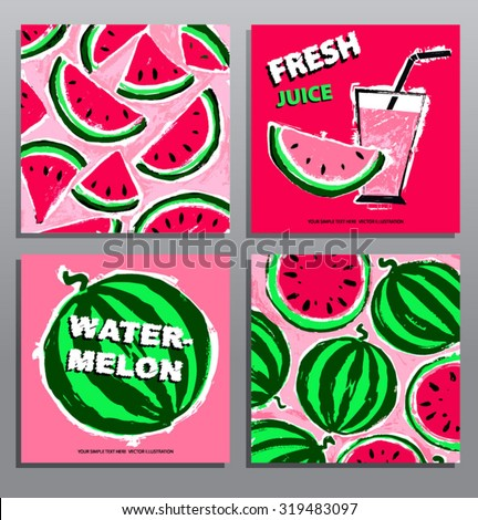 Set of hand drawing summer cards with watermelons. Organic food. Healthy lifestyle. Vector illustration.  - stock vector