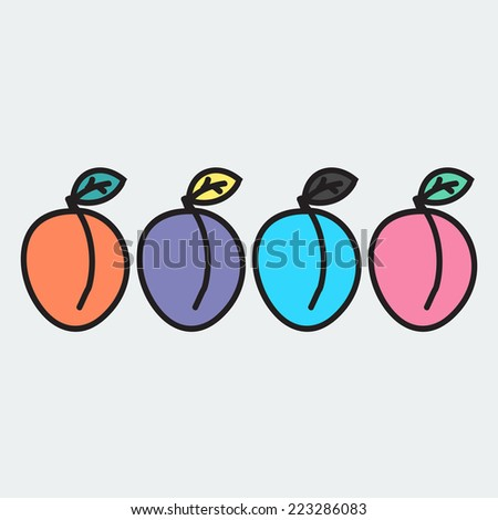 set of hand-drawn apricot - illustration on the theme of the summer and autumn - farm, fruit, natural. Orange, violet, blue and pink sweet and tasty apricots.  - stock vector